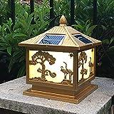 Hines Europäische Gold Glas Laterne Solar Spalte Lampe Post Lampe Chinesische Outdoor Garten Lampe Wandleuchte Wasserdicht Home Villa Wand Säule Straßenlaterne Dekoration Tischleuchte