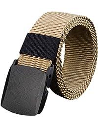 ishine cinturones hombre elasticos Mujer Cinturones de Lona Transpirable  Anti-alergia Cinturón con Plástico Hebilla 938f9146498a