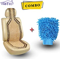 Fabtec Wood Beaded Seat Cover With Microfiber Glove Duster Combo!