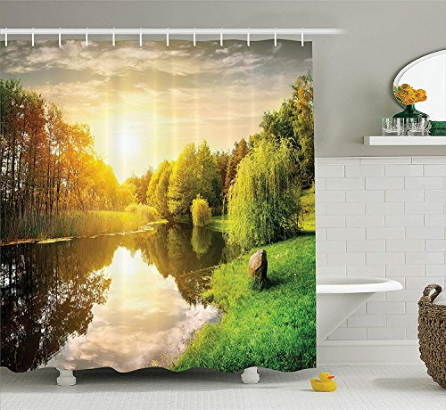Lake House Decor Collection, Sunset Over Calm River Grass Willow Trees Grass Rocks Reflection Light Clouds, Polyester Fabric Bathroom Shower Curtain Set with Hooks, Green Blue White Vintage Blue Willow