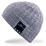 Rotibox Washable Bluetooth Beanie Warm Soft Winter gestrickt Trendy Short Skully Hut Mütze mit Wireless Kopfhörer Headset Kopfhörer Speakerphone Mic, Geschenk für Outdoor-Sport Skating Wandern Camping - Grau