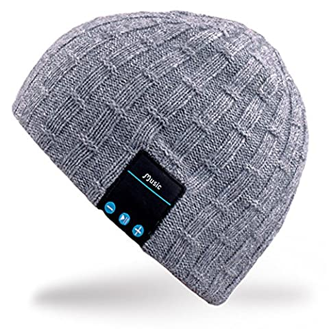 Rotibox Washable Bluetooth Beanie Warm Soft Winter Knitted Trendy Short Skully Hat Cap with Wireless Headphone Headset Earphone Speakerphone Mic,Gift for Outdoor Sports Skating Hiking Camping -