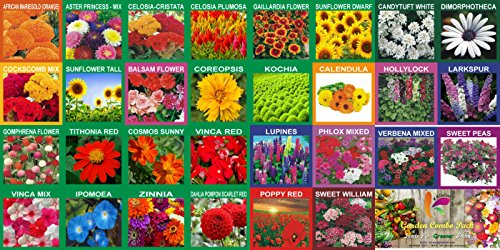KRIWIN 30 Varieties Flower Seeds Combo 5220+ seeds with Start your Own...