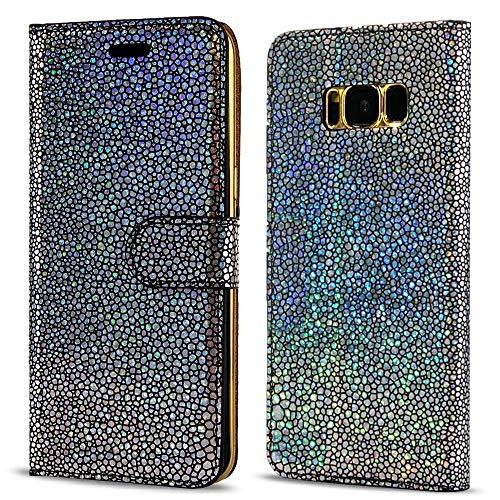 LCHULLE Samsung Galaxy A5 Hülle (2017), Pearl Spots Bling Glitter Slim PU Leder Flip Case Silikon Rückseitige Abdeckung mit Stand Brieftasche Magnetische Verschluss Buch Abdeckung (Schwarz) Pearl Flip Case