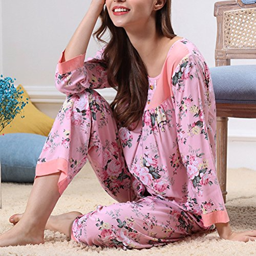 Zhhlaixing Luxury Womens Super Soft Pyjama Sets Casual Long sleeves Pajamas M5115H Pink