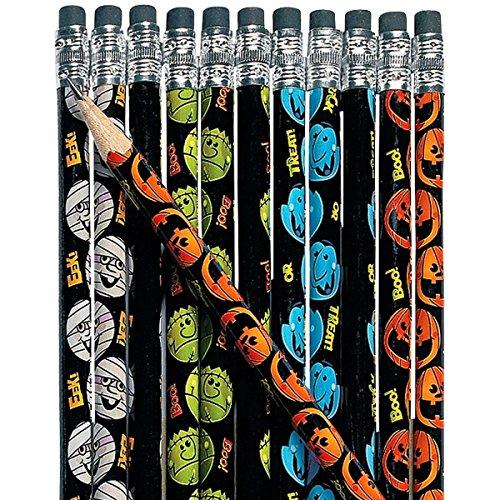 12 x Bleistift mit Radiergummi - Halloween Mumie Kürbis Vampir Frankenstein Halloweenparty Geister Gespenst Kürbis Fledermaus Mi