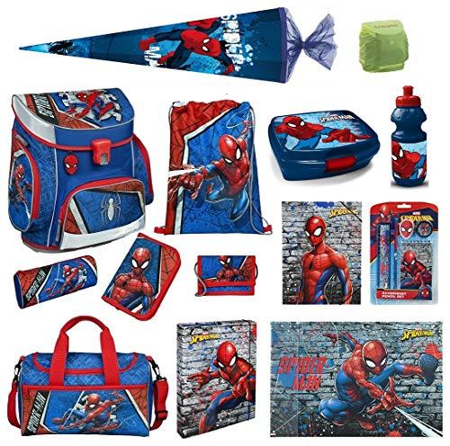 Familando Marvel Spiderman Schulranzen-Set 18tlg. Scooli Campus Up mit Sporttasche Schultüte 85cm und Regenschutz