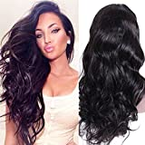 """16\ 1X3\ silk top lace front wig , 1#Jet Black : Premier Silk Top Lace Front Human Hair Wigs Glueless Body Wave Brazilian Remy Hair 130% Density Natural Loose Wave 1X3"""" Silk Base Lace Wigs for Black Women, Long wavy Hair (16 Inch #1 Jet Black wig)"""