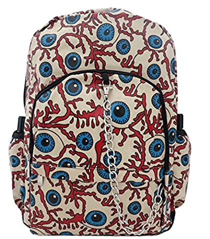 BIG EYE BALL Zombie Nerve Pattern Splashproof PU Backpack Rucksack