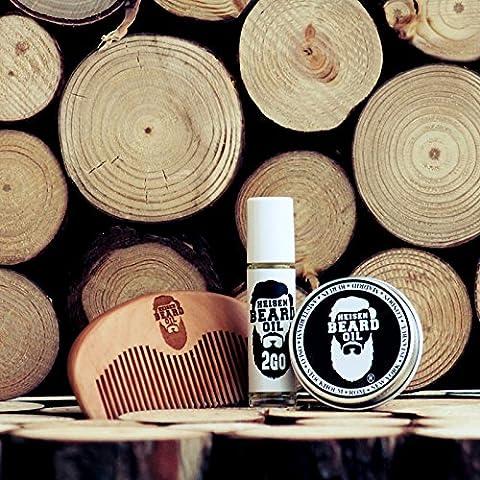 Bartöl Starter Kit,1 x Bartöl, 1 x Bartbalsam, 1 x Bartkamm aus Holz von Heisenbeard für die Bartpflege