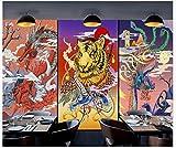 Apoart 3D Papier Peint Mur De Dragon De Tatouage Chinois Et Japonais Rétro D'Ukiyo-E 450Cmx300Cm