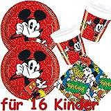 Procos/Carpeta 53-teiliges Partyset * Mickey Mouse 16 Teller + 16 Becher + 20 Servietten + Deko // Kindergeburtstag Set Partygeschirr Kinder Geburtstag Party Mottoparty Luftballons Deko Micky Maus