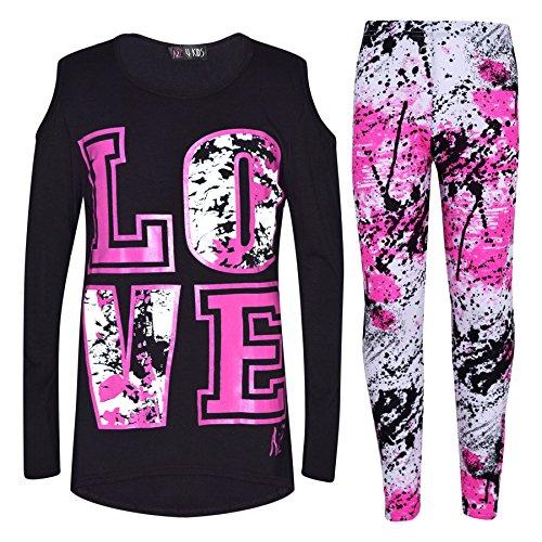 (A2Z 4 Kinder Kinder Mädchen Top LOVE Aufdruck T-Shirt & Splash Aufdruck Mode Legging Satz Neu Alter 7 8 9 10 11 12 13 Jahre)