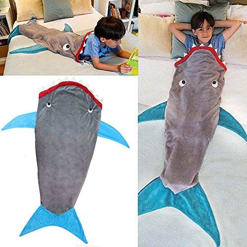 Kids Shark Mermaid Tail Fleece Blanket Snuggle-in Cosy Sleeping Bag UK