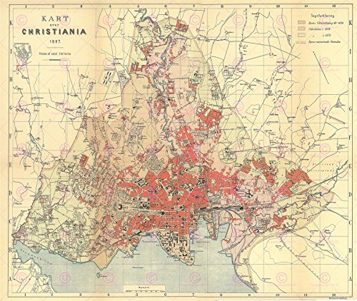 MAP ANTIQUE 1887 LOCAL MUNICIPAL CHRISTIANIA OSLO PLAN LARGE PRINT POSTER LF1742 - 1887 Antique Map