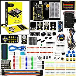 KEYESTUDIO ksyestudio Mega 2560 Kit con Placa Controladora Mega, Guías Tutorial, 1602 LCD, Servo, Motor Paso a Paso, relé, Motor, Ultrasónico para Arduino Starter Kit