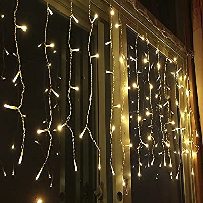 Curtain Lights S&G 480 LEDs, 8 Modes Window Curtain Icicle Lights String Fairy Lights, Warm White, Valentine's Day Christmas Wedding Party Garden Backdrops Decorative Lights from Smart&Green Lighting