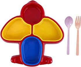 Confidence Children Cute Dinner Breakfast Tray, Baby Dishes Fruit Plate Cutlery Aeroplane Style, Multicolor, 30 Gram, Pack of 1 (M1)