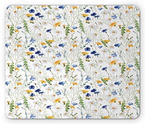 Blume Maus Pad von ambesonne, Wild Blumen Mohn und Margeriten ländlichen Nature Scenery in Wiesen Rustikal, Standard Größe Rechteck rutschfeste Gummi Mousepad, Blue, Pale Grün Gelb (Gelb Stoff Farbstoff)