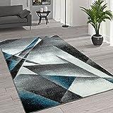 Paco Home Kurzflor Wohnzimmer Teppich Moderne Melierung Geometrische Muster Grau Türkis, Grösse:160x220 cm