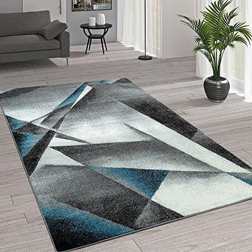 Paco home tappeto moderno, motivo geometrico, grigio e turchese, dimensione:160x220 cm