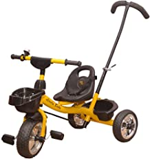 Baby Tricycle for Kids with Front Back Basket & Parent Handle Recommended for Toddler 1,2,3,4,5 Year Old Children Tricycle for Kids (Yellow)