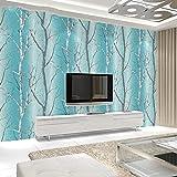 HXY 3D Wallpaper Moderne Minimalistische Waldtapete Baumstamm Birkenbaum Schlafzimmer Wohnzimmer Hintergrund Blau Grün Kaufen Sie Drei Get One Free (Style : B01003)