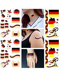 100 Teile Schwarz Rot Gold Deutschland Tattoo Set EM WM Flash Tattoos Fanmeile