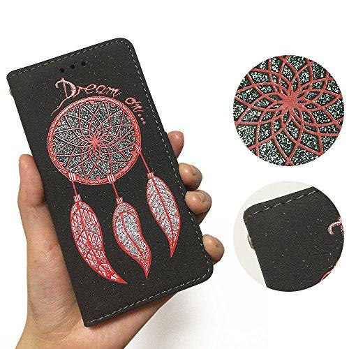 """iPhone 6s Hülle,iphone 6 4.7 Case, MOONESS Schutzhülle PU Leder Flip Tasche Case mit Standfunktion und Karte Halter für iPhone 6s/iphone 6 4.7""""(Rot) Schwarz"""