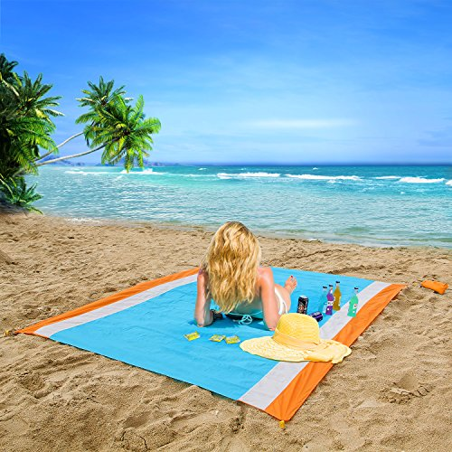 OUSPT Beach Blanket,Compact Lightweight Picnic Blanket Outdoor Nylon Beach Mat Portable 210cmx200cm Waterproof and Sand Proof Strong Ripstop Sand Mat with Anchor for Staying Firmly