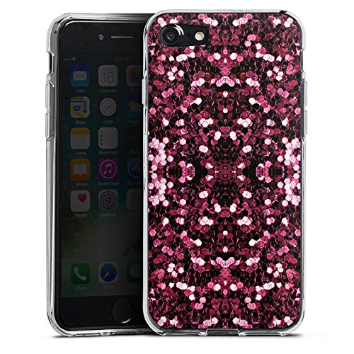 Apple iPhone X Silikon Hülle Case Schutzhülle Glitzer Muster Glitter Silikon Case transparent