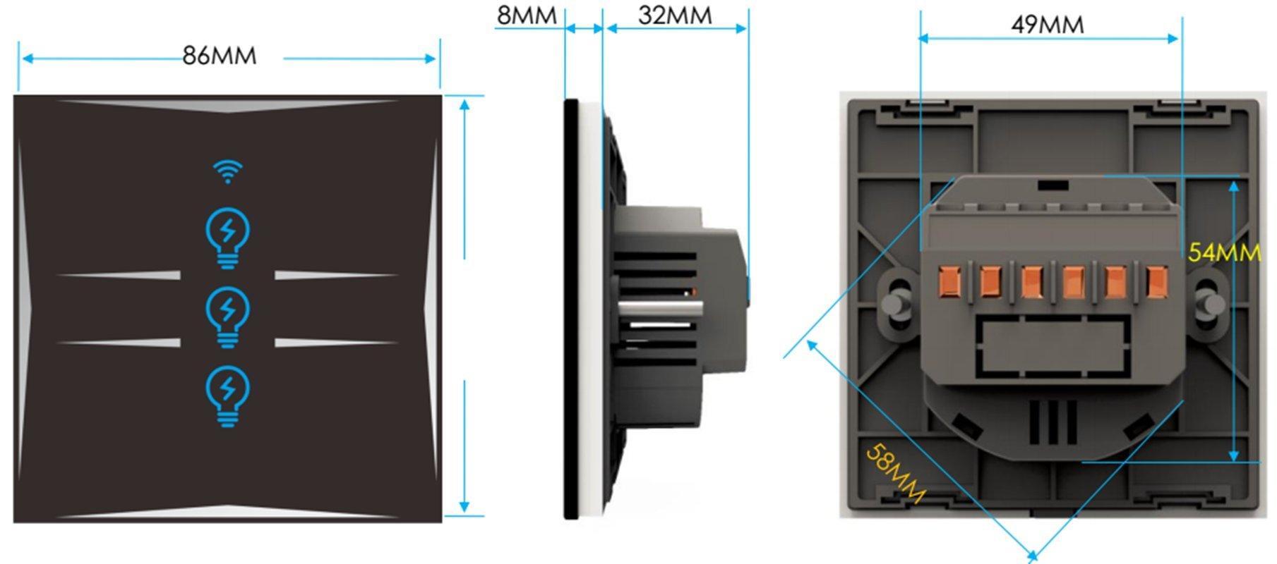 Smart Home Wall Light Switch 2 Gang WIFI Touch Sensitive Glass ...