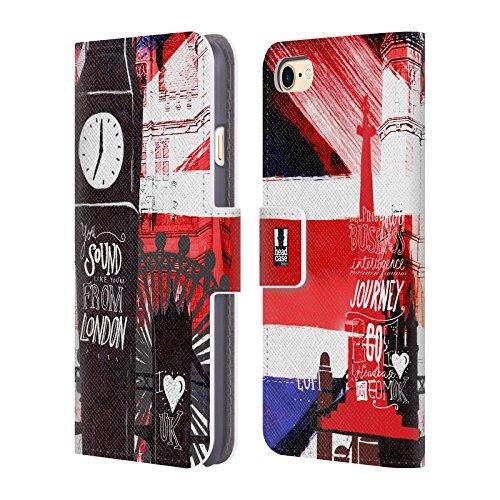 Head Case Designs Gipfel I Love London Brieftasche Handyhülle aus Leder für Apple iPhone 5 / 5s / SE Silhouttes
