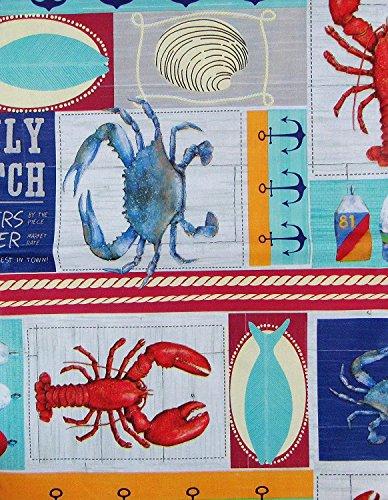 Daily Catch Boot Dockingstationen Patchwork Vinyl Tischdecke Flanell Rückseite, Vinyl, mehrfarbig, 60 Inches Round