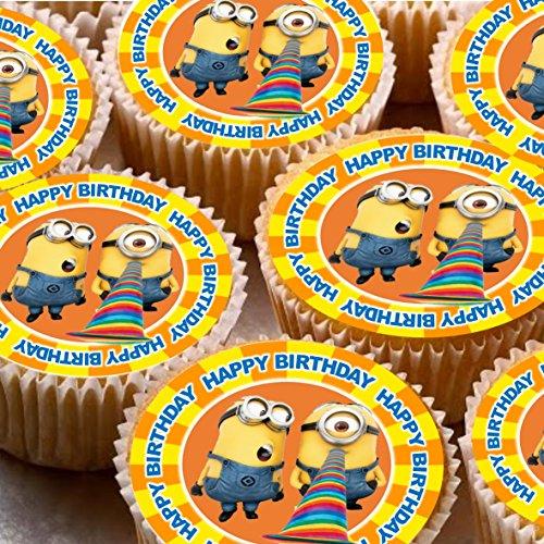 �cm auf Zuckerguss Cupcake Bilder-Minions Despicable Me Happy Birthday ()