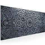 Bilder Mandala Abstrakt Wandbild 100 x 40 cm Vlies - Leinwand Bild XXL Format Wandbilder Wohnzimmer Wohnung Deko Kunstdrucke Schwarz Weiß 1 Teilig -100% MADE IN GERMANY - Fertig zum Aufhängen 109412c
