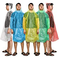 Emergency Rain Poncho, Kany 5 Packs Disposable Assorted Unisex Emergency Rain Poncho Waterproof Reusable Rain Coats With Hoods - Perfect For Festivals, Camping & Theme Parks