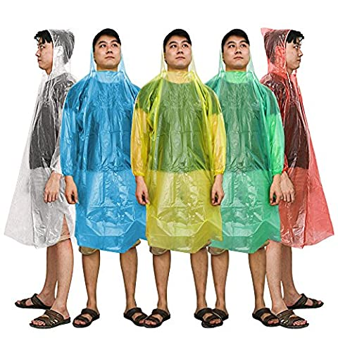 Kany Emergency Disposable Rain Poncho(5 pack) Assorted Unisex Adult Emergency Waterproof Reusable Rain Ponchos With Hoods - Perfect For Festivals, Camping & Theme