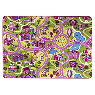 Andiamo Kids roadmap rug sugar town, soft children street carpet, fun play mat in a pink village design, GUT/prodis approved, Size:140x200cm