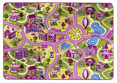 Alfombra de juegos, Calle Sugar Town, suave, poliamida, Pink, Rosa, 200x200 cm