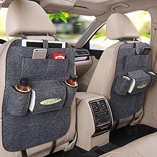 Preisvergleich Produktbild Rückenlehnenschutz, Auto Rücksitz Organizer Wolle Filz Sitz Tasche Schutz Halterung für Flaschen, Taschentücher Box, Spielzeuge (grau)