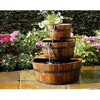 nexos gartenbrunnen springbrunnen holzbrunnen holz garten brunnen fass m pumpe 44cm amazon. Black Bedroom Furniture Sets. Home Design Ideas