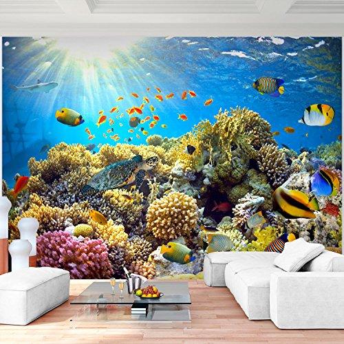 Fototapete Aquarium Vlies Wand Tapete Wohnzimmer Schlafzimmer Büro Flur Dekoration Wandbilder XXL Moderne Wanddeko - 100% MADE IN GERMANY - Unterwasserwelt Korallen Riff Runa Tapeten 9073010a