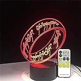 Luce Notturna 3D Per Bambini, Lampada Notturna A Led A Illusione Ottica 16 Luce Che Cambia Colore Con Telecomando, Migliori R