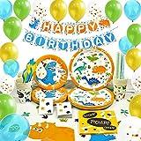 WERNNSAI Suministros de Fiesta de Dinosaurio Set - Decoracion de Fiesta para Chico Niños Cumpleaños Servilletas Cubiertos Mantel PlatosPancartas Globos Tazas Sirve a 16 Invitados 169 Piezas
