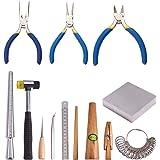 PandaHall Elite 12 stuks sieraden maken gereedschap, hamer/aambeeld/ringklem/liniaal/stick/Sizer/Awls/pinceten/zijsnijtang/ne