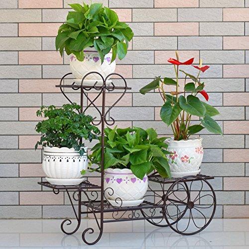 KELE Europäische Eisen Mehrgeschossige Blumen Rack, Stock-Stil Balkon Wohnzimmer Indoor Flower Pot Rack Pflanzen Stehen Display-B (30 * 10 * 28inch) 75 * 26 * 70cm (Bike Rack Stock)