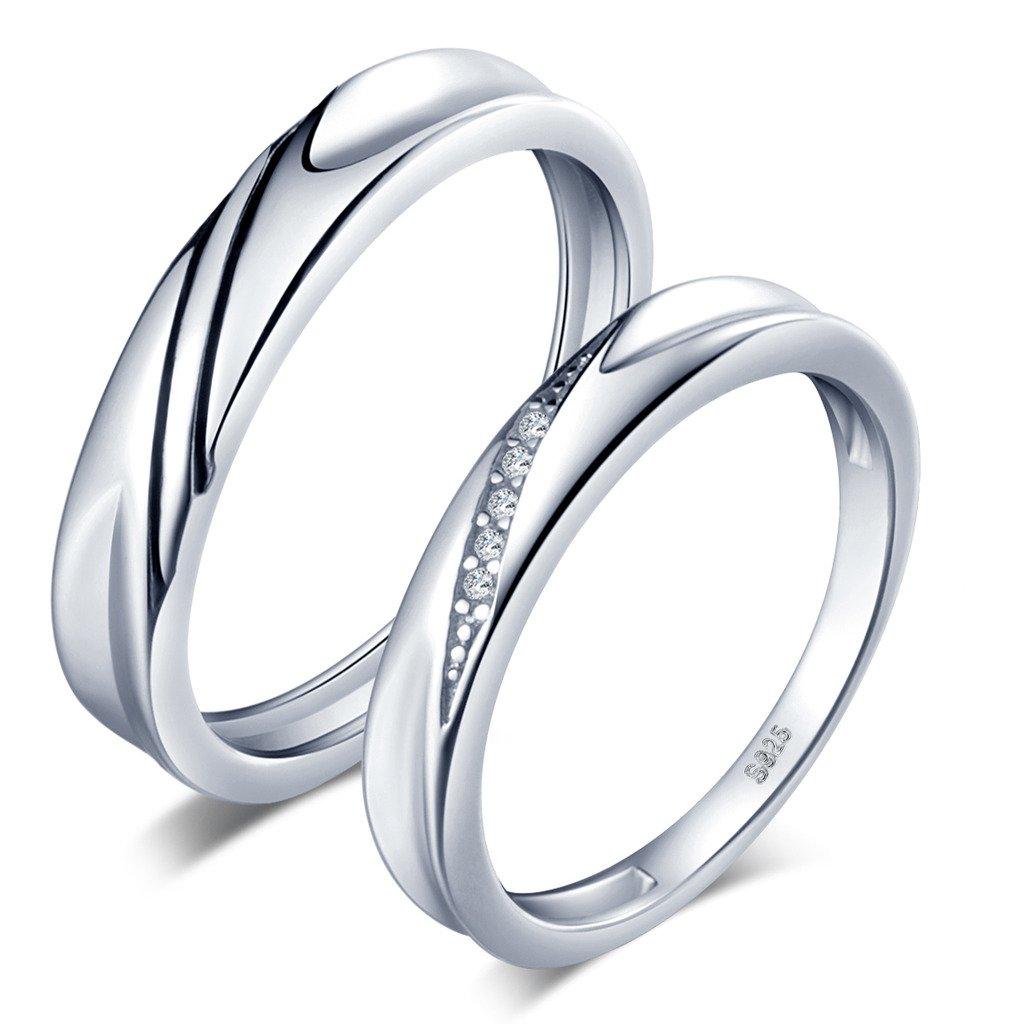 Unendlich U Simpel Welle 925 Sterling Silber Zirkonia Paar Band Ringe Eheringe Trauringe Verlobungsringe Partnerringe, Größe 63