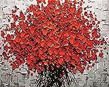 CaptainCrafts New Malen nach Zahlen 16x20 'für Erwachsene, K0inder Leinwand - Blooming Rote Blumen (Frameless)