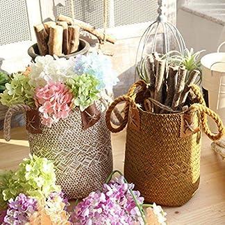Cesta tejida de algas naturales con asas para almacenamiento, lavandería, meriendas, maceta, florero, cesta de papel y bolsa de playa, de GEZICHTA